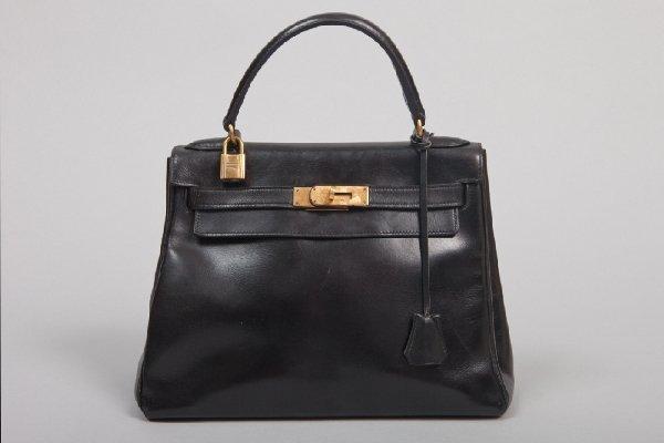 Hermes 28cm Model Kelly Black Leather Purse