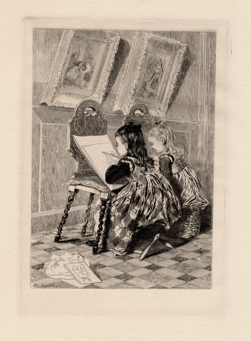 Adolphe Lalauze Etching 1800s Drawing Lesson