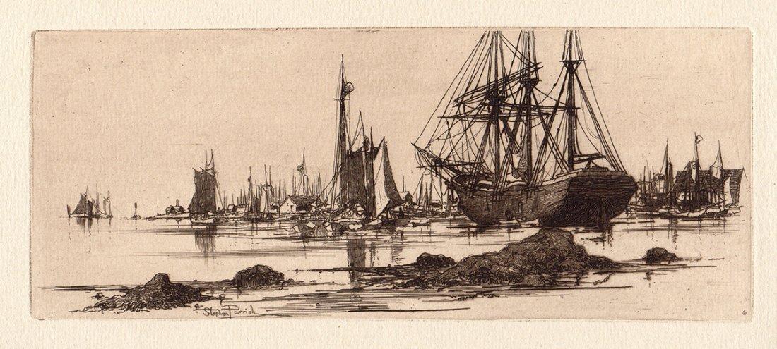 "Stephen Parrish ""In Port"" etching"