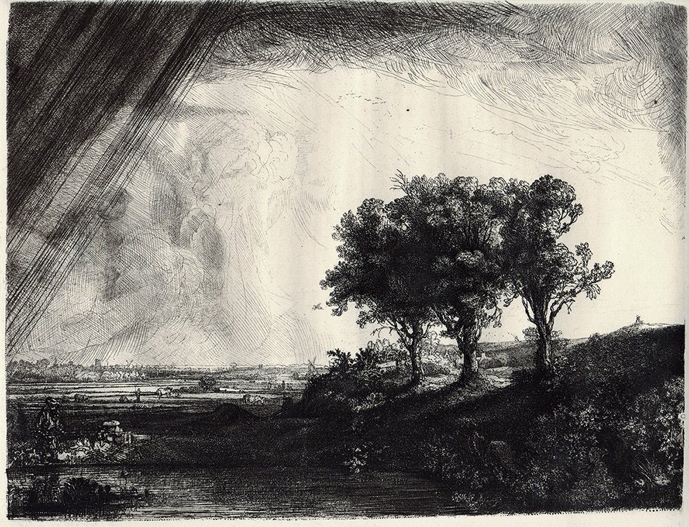 Rembrandt etching Three Trees Durand Original