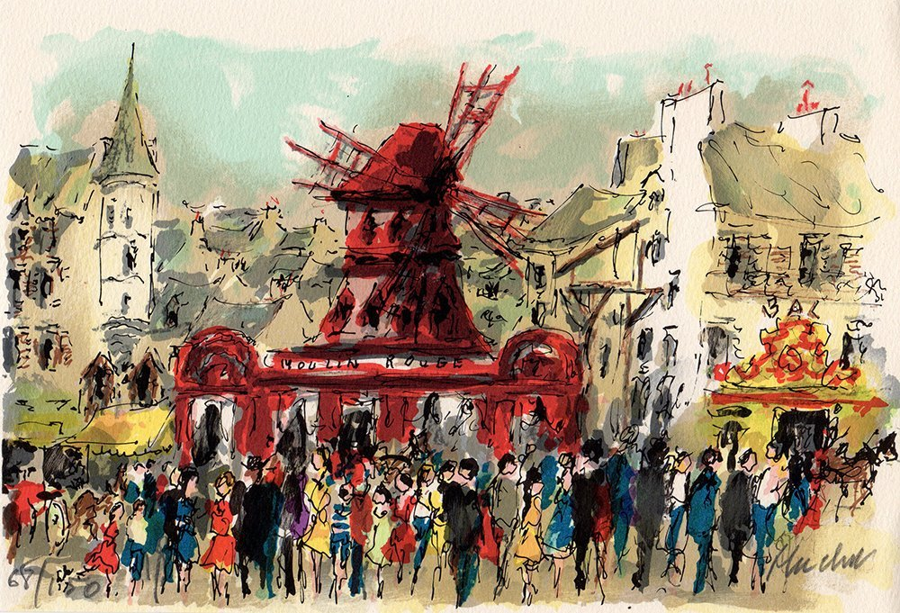 Urbain Huchet Signed Lithograph Moulin Rouge