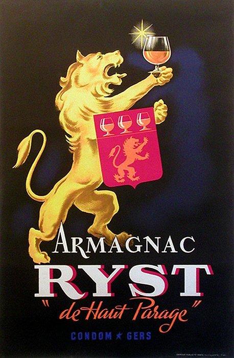 Armagnac Ryst Antique Liquor Poster