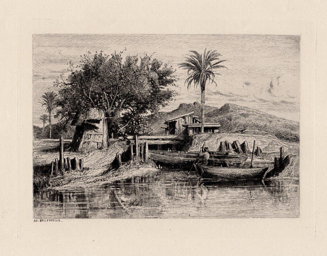 """Balfourier """"Near Elche"""" etching"""