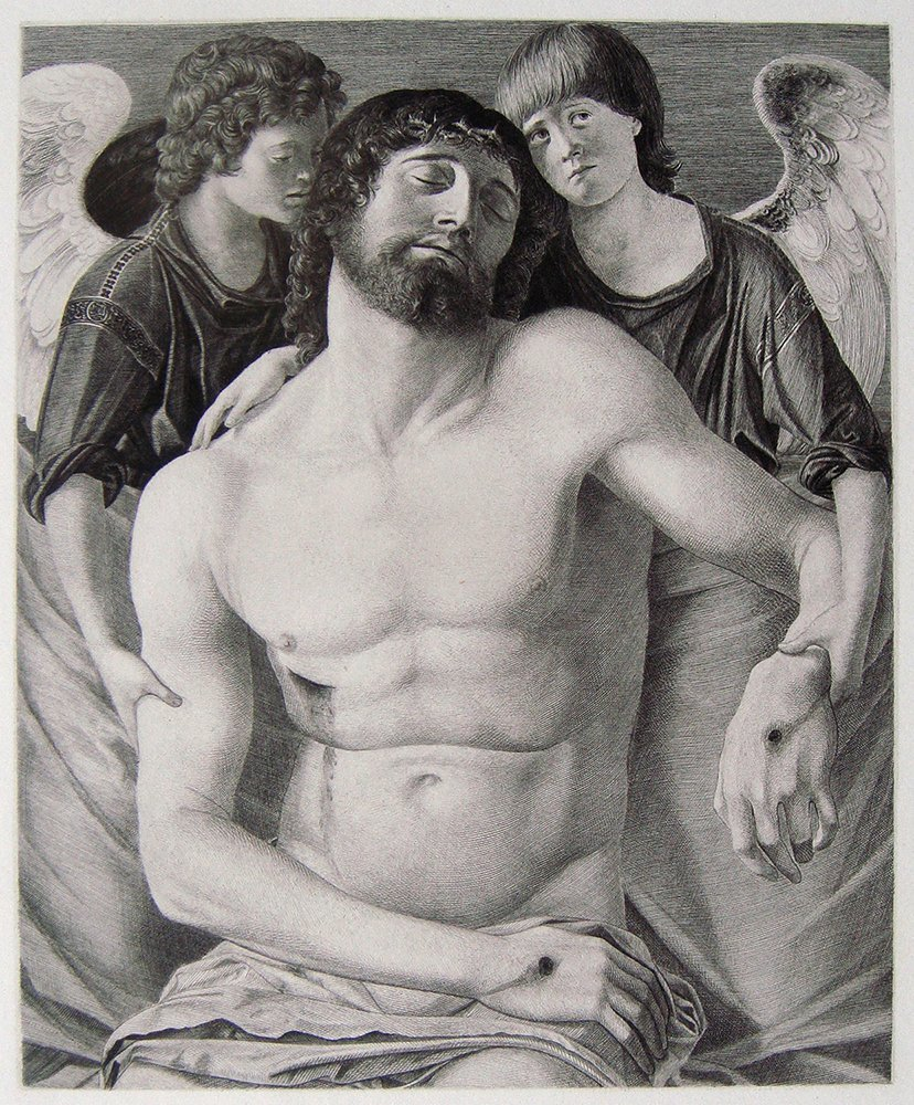 Giovanni Bellini Christ & Angels antique engraving