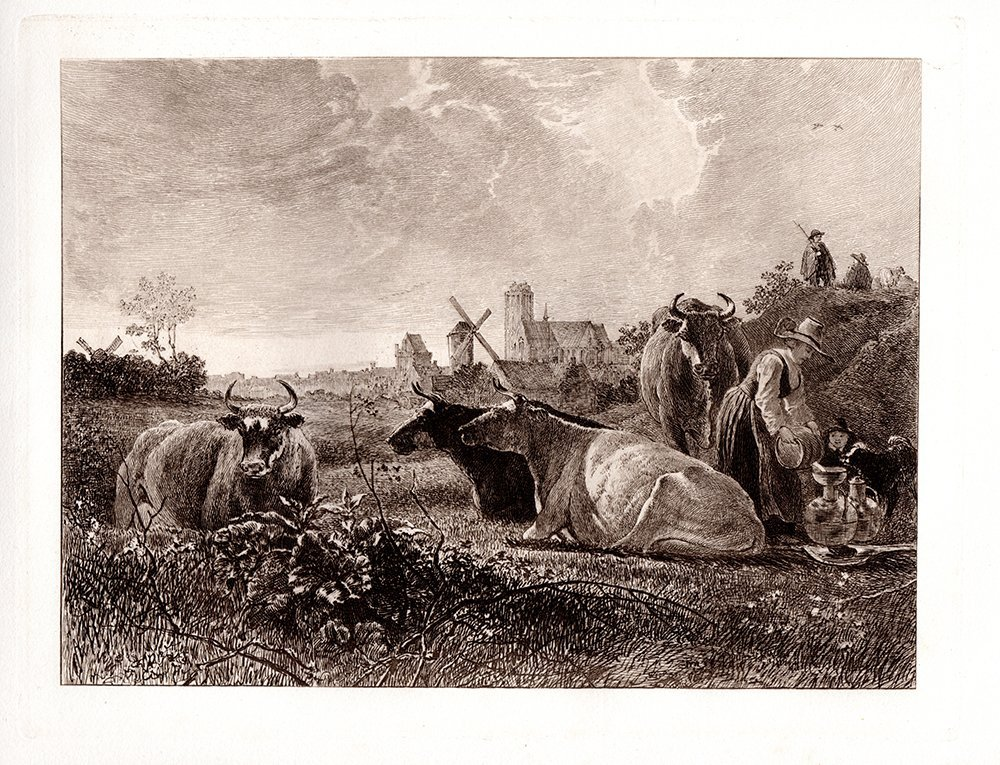 Aelbert Cuyp Milking time antique etching