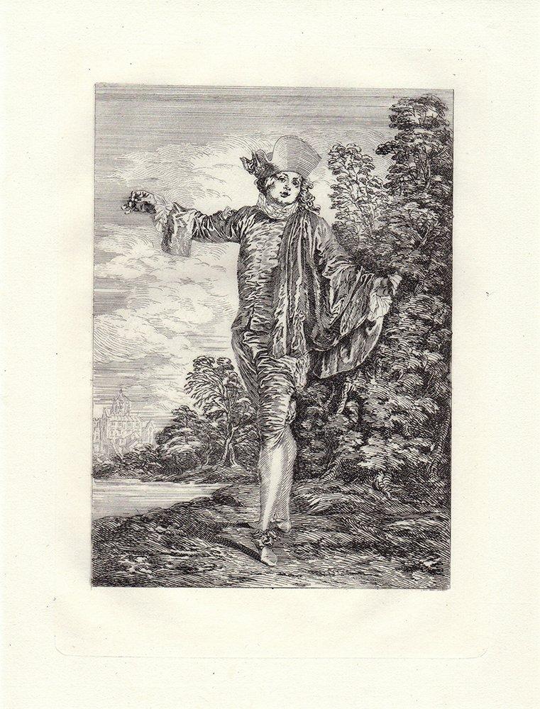 Jaen Watteau L'indifferent etching 1800's