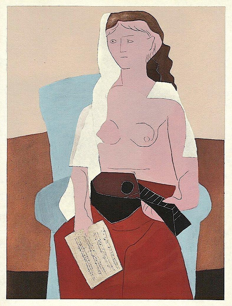 Pablo Picasso 1930 Pochoir Femme Assise