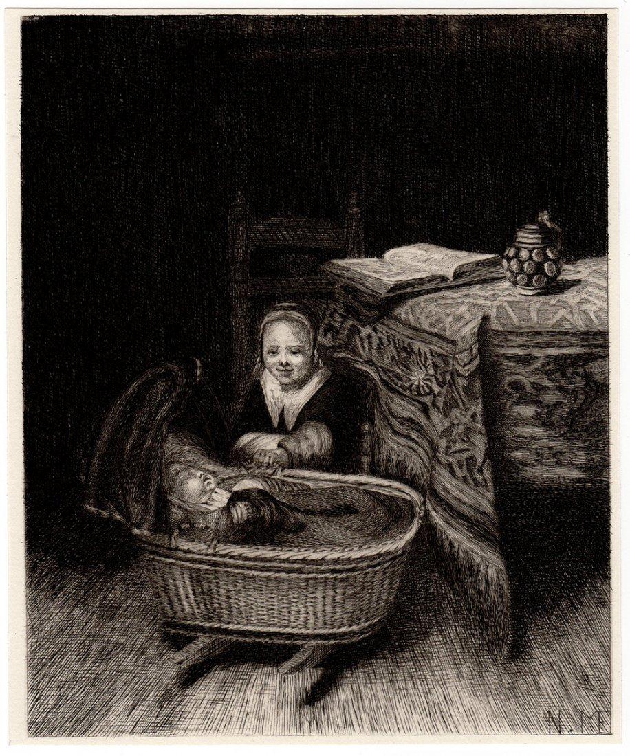 Nicolaes Maes etching The Cradle 1800s