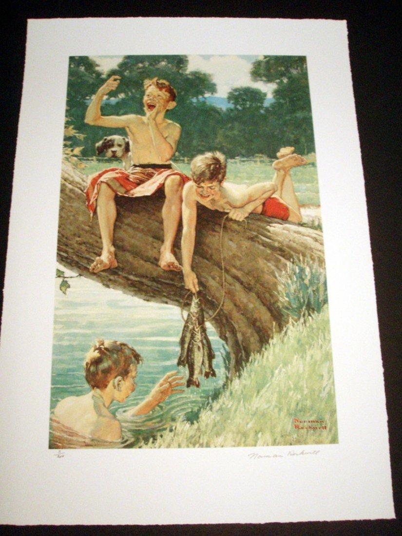 "Rockwell ""Three Boys Fishing"" lithograph"