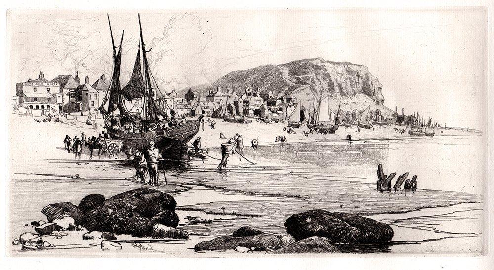 Stephen Parrish Antique Etching Hastings 1800s