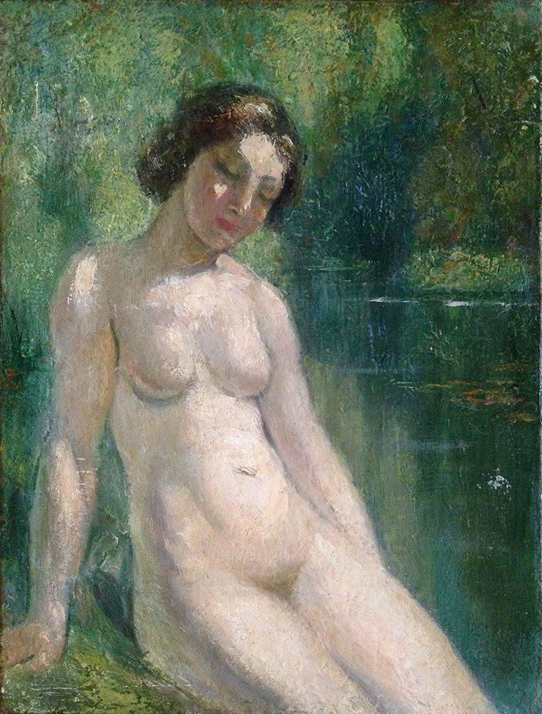 Emile Delobre Nude Oil on Canvas Antique Framed