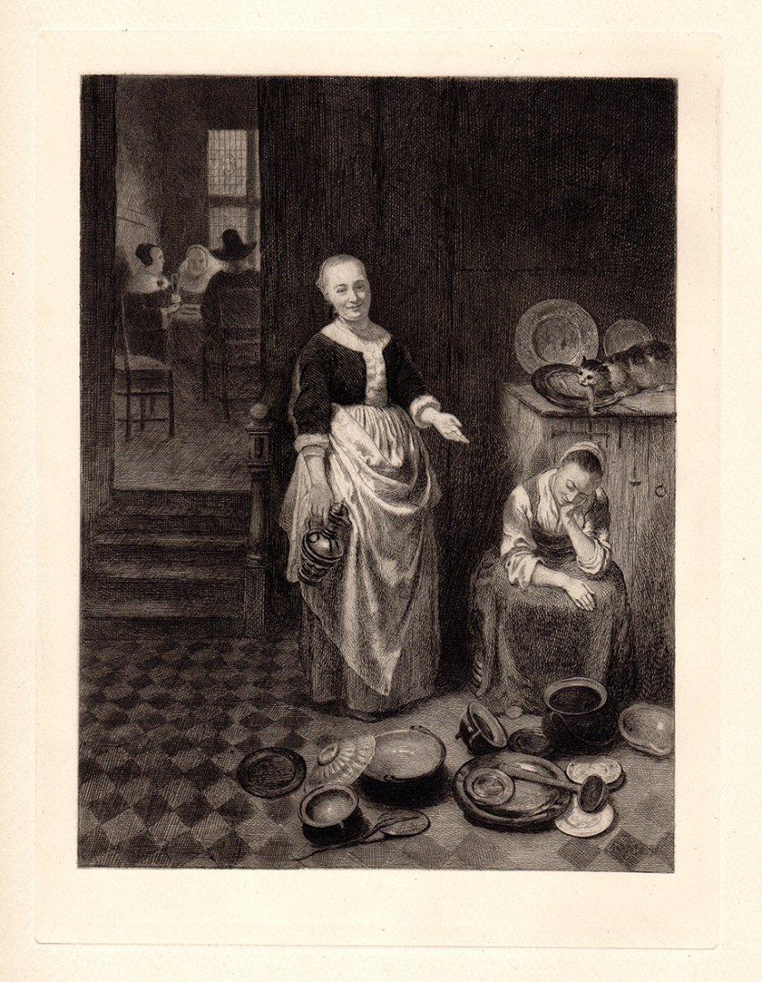 Nicolaes Maes etching Idle Servant 1800s
