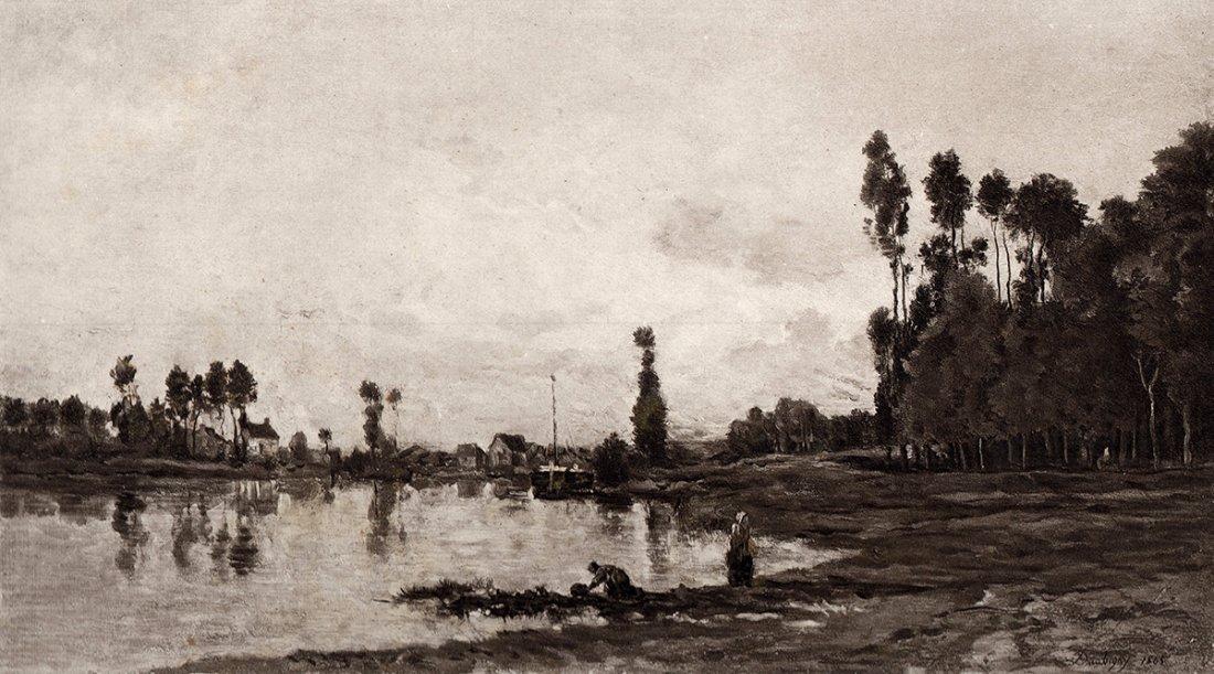 """C. F. Daubigny """"By The River"""" 1880's"""