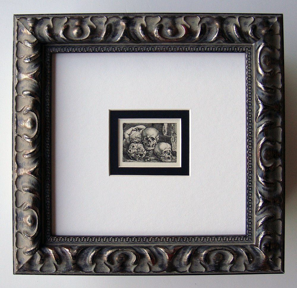 Beham INFANT AMONG SKULLS 1800s Framed Durand Engraving