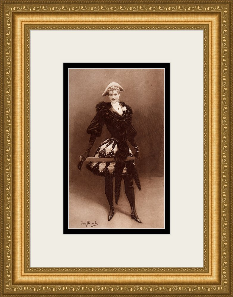 Jean Beraud HARLEQUIN Framed Antique 1800s Print