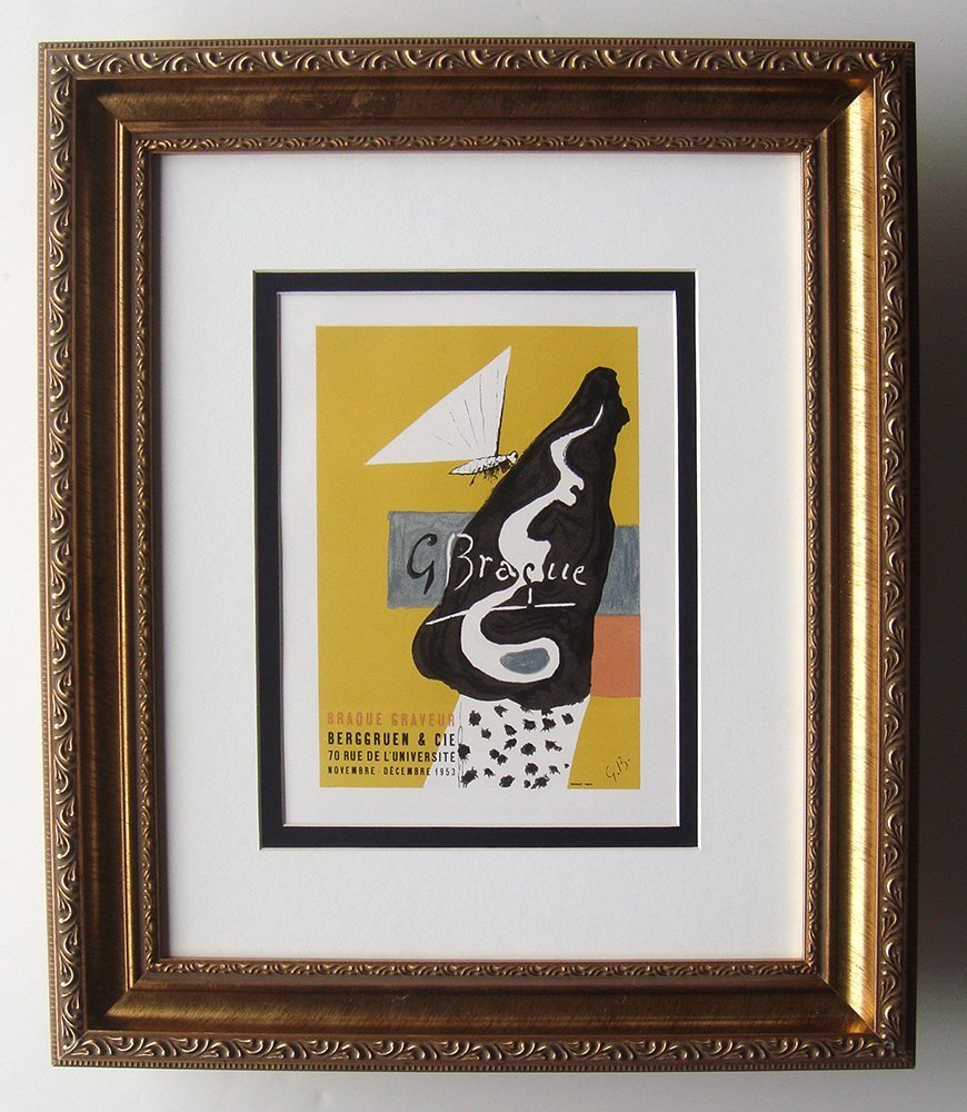 Braque Gravure Exhibition Framed 1959 Color Lithograph