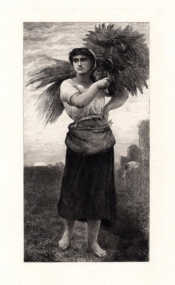 Jules Breton 1878 Antique Etching A GLEANER