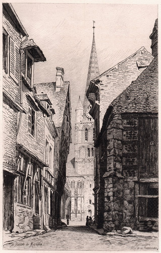 A. Briend 1875 Original RUE DE LA POISSONNERIE Etching