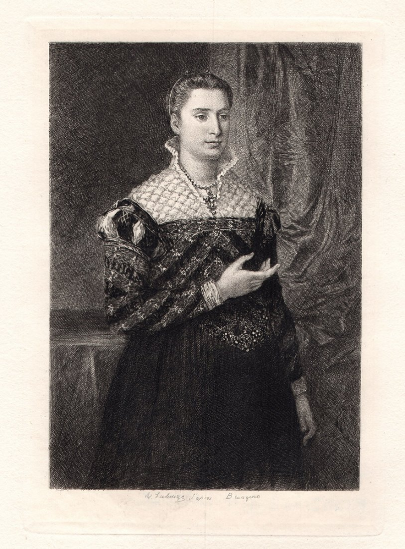 Bronzio PORTRAIT OF A LADY 1870s Antique Etching
