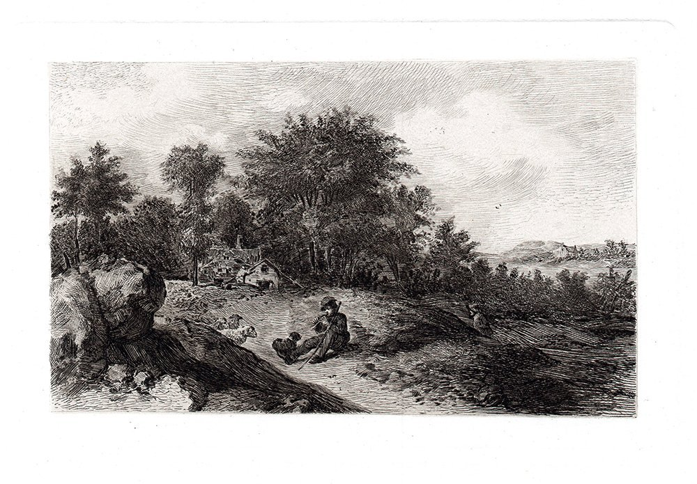 A. Brouwer A LANDSCAPE with SHEPHERDS 1880s Etching