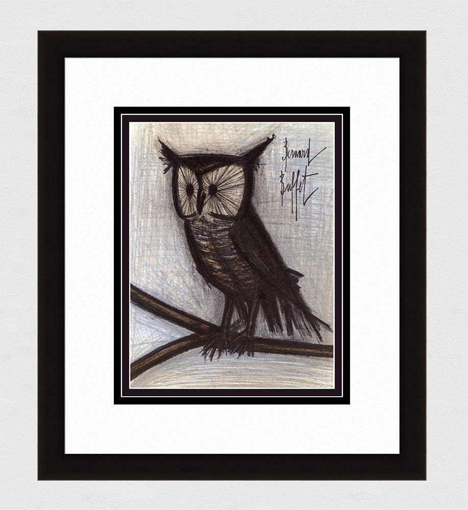 1967 Bernard Buffet Original Color Lithograph Small Owl