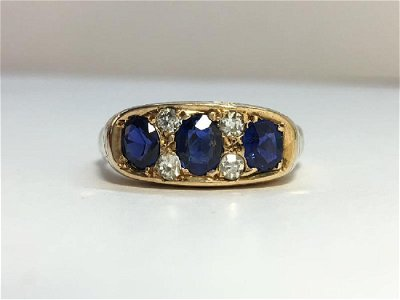 A Victorian Sapphire and Diamond Ring with Engraved 9ct