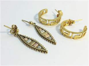 Two pairs of gold earrings A pair of 18ct gold hoops