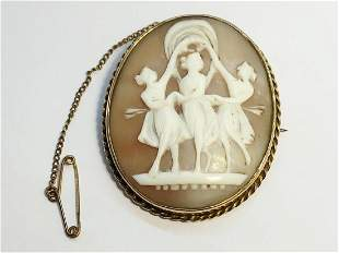 A 19th century carved shell cameo depicting the Three
