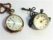 2 Fob watches including a Chased Fob Watch with a