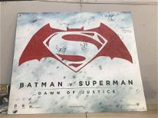 A Batman V Superman advertising poster signed by 8