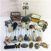A mixed lot including hat pins, hat pin stand, vesta