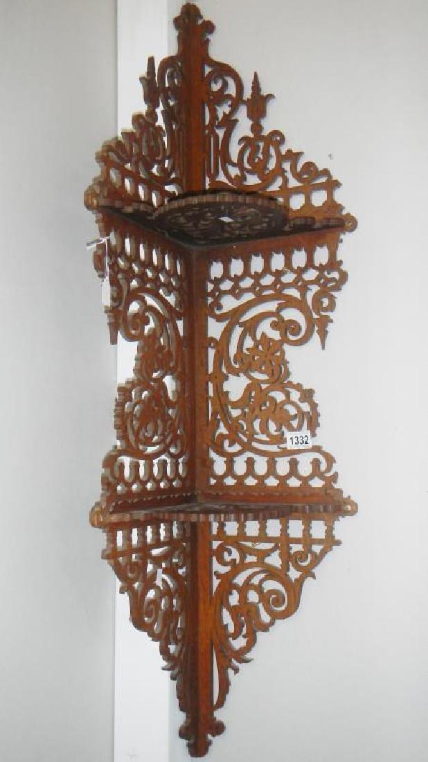 Antique corner shelf, gilt wall shelves