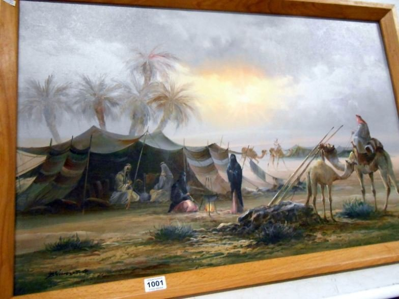 An oil on canvas, Arab scene, signed