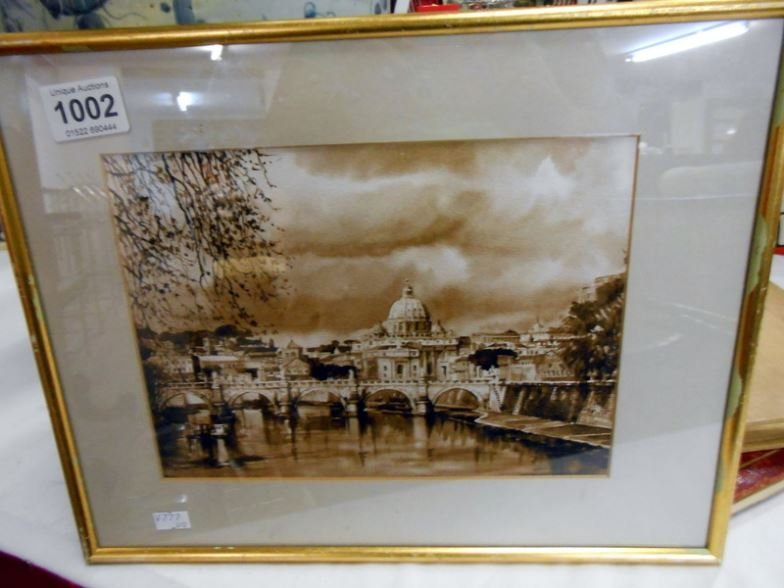 A monochrome watercolour of Rome