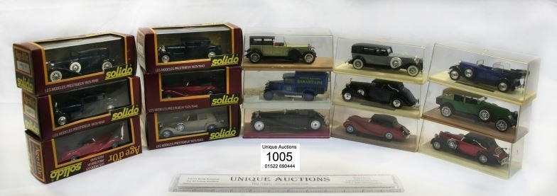 15 boxed Solido diecast vintage model cars