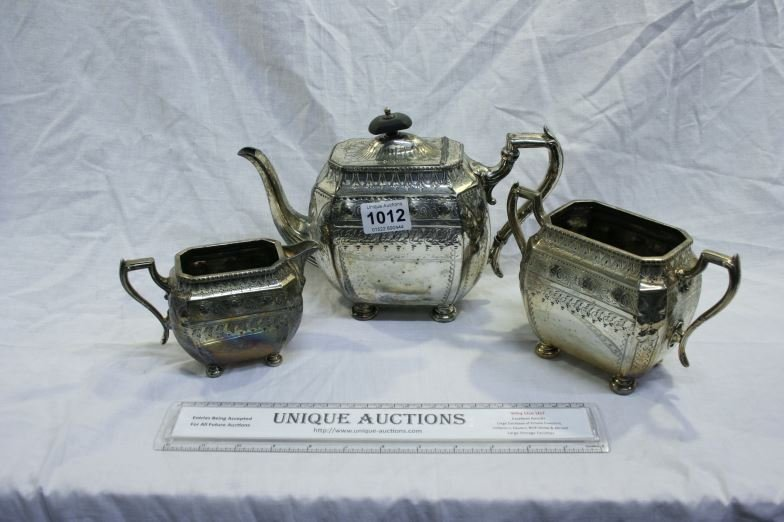 A 3 piece silver plated tea set