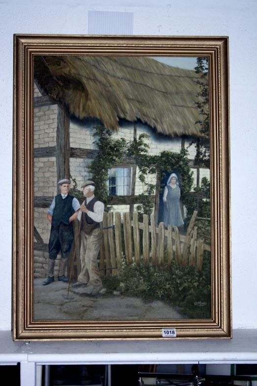 An oil on board, working man's cottage signed R A H Bai