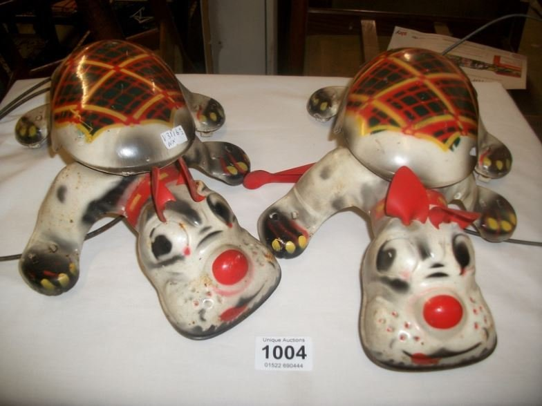 2 Mobo tin plated Scottie dogs