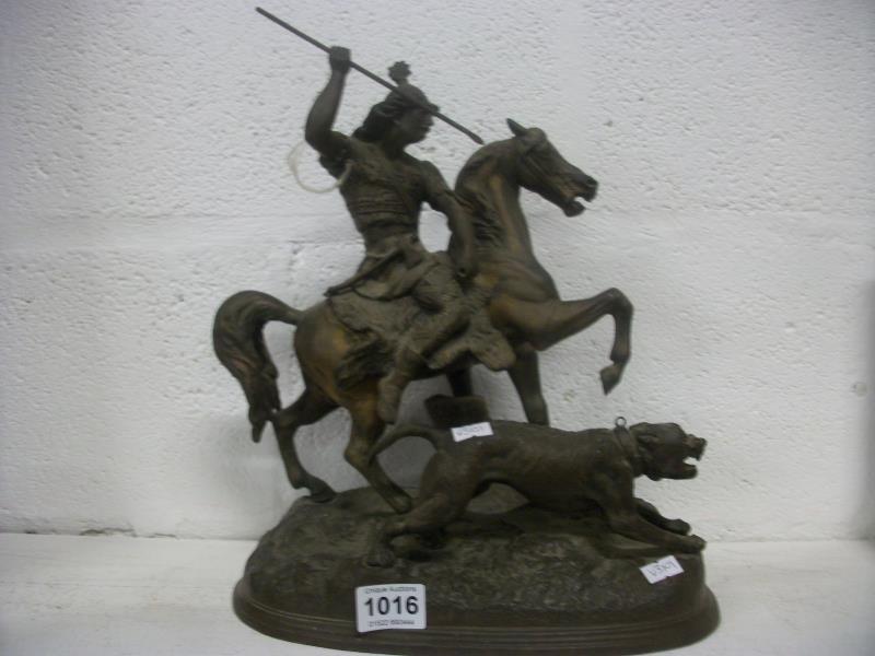 An unusual spelter 'Mongolian Hunter' figure (1 leg a/f
