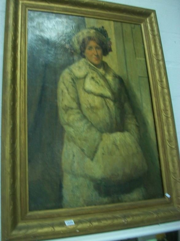 A large full portrait of a lady in ermine coat signed R