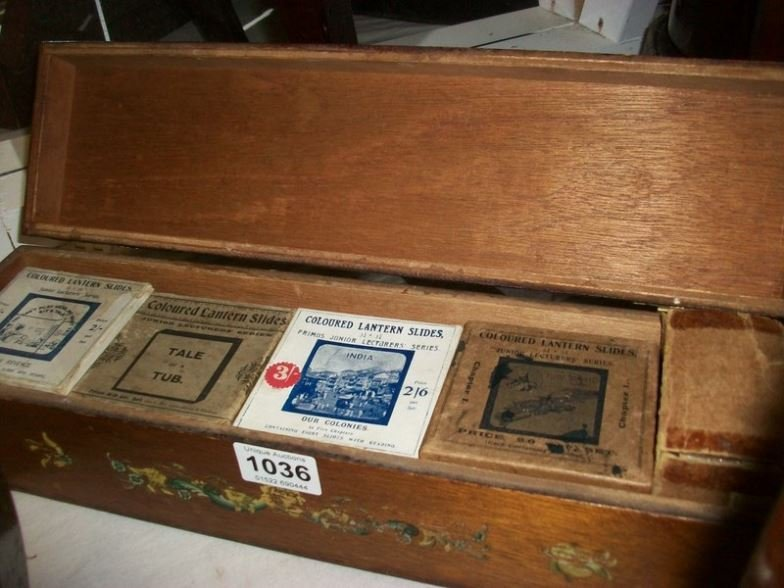 9 boxed sets of glass slides inc 'Tale of a Tub', 'Fool