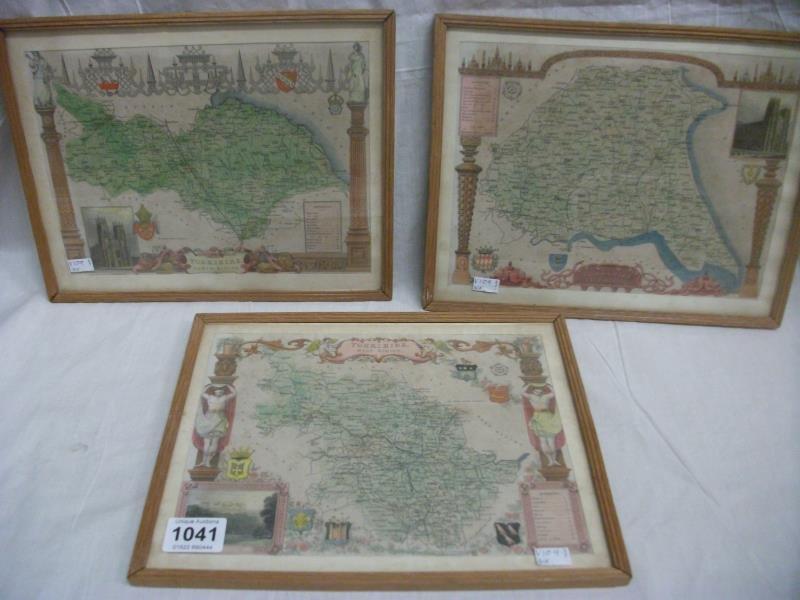 3 framed maps of Yorkshire