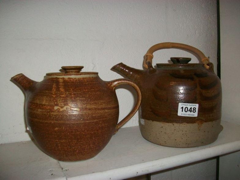2 large stoneware teapots,  Mickl Schloessingk & impres