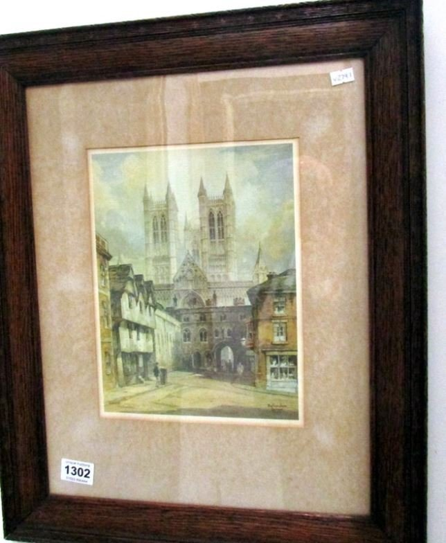 A framed Featherstone Robson print of Lincoln Cathedral