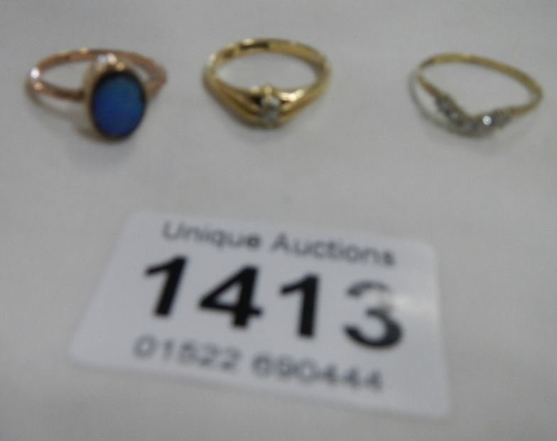 3 9ct gold rings set diamond, opal etc