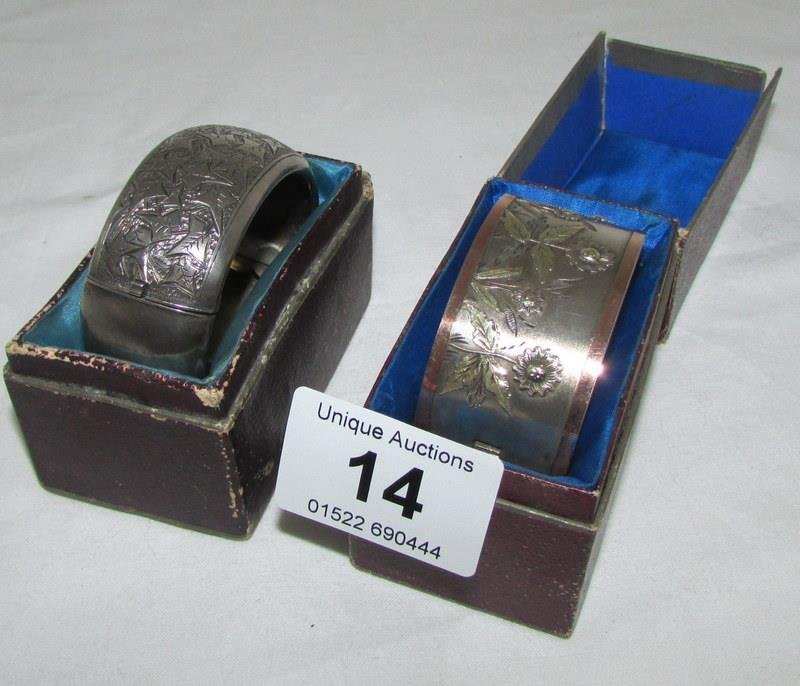 2 silver plated bangles