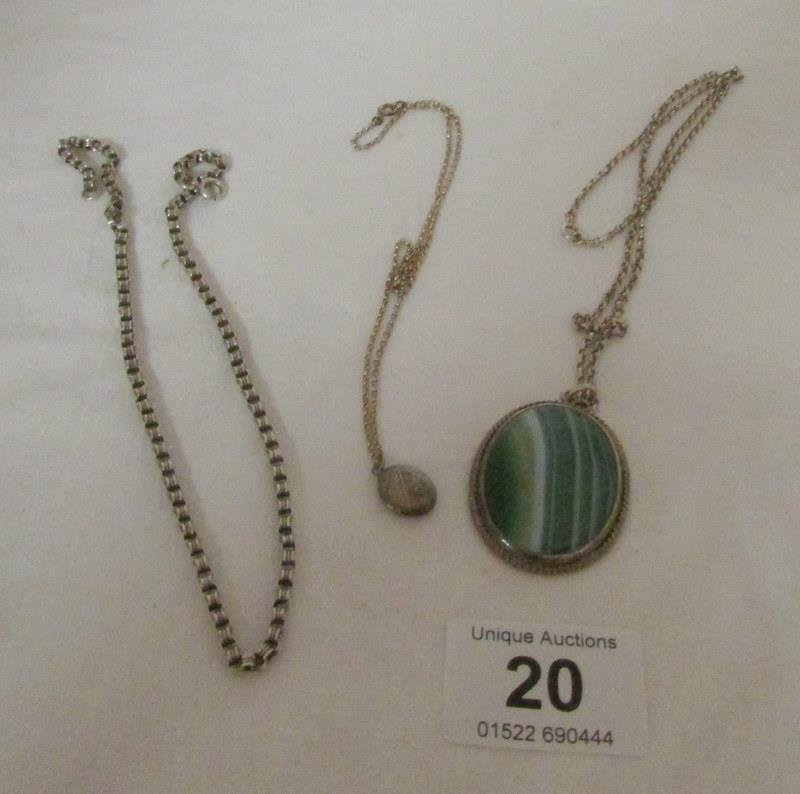 A silver locket on chain, silver chain and agate