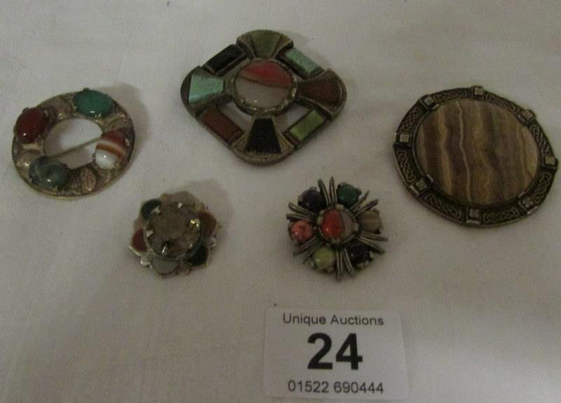 5 Celtic brooches including 2 silver
