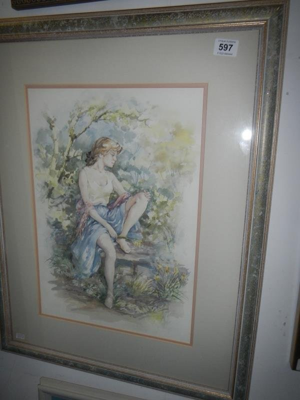 A framed watercolour signed Francis Boxall