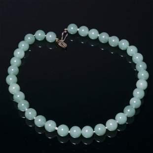 A jadeite jade necklace